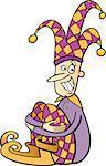 Cartoon Illustration of Funny Jester or Joker Clip Art