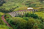 Steam train on a famous Glenfinnan viaduct, Scotland, Great Britain