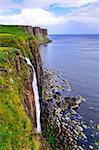 Kilt rock coastline cliff in Scottish highlands, Scotland, United Kingdom