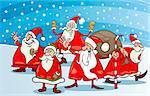 Cartoon Illustration of Santa Claus Characters Group at Christmas Eve