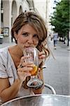 Young Woman Drinking at Outdoor Cafe, Zaragoza, Aragon, Spain