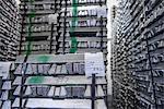 Stacked and stored aluminum ingots