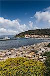 View of Marciana town from shoreline, Elba Island, Italy