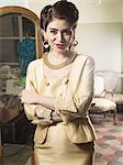 Portrait of woman in vintage clothes