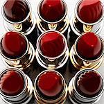 Elevated view of nine lipsticks