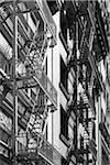 Fire Escapes on Apartment Building, San Francisco, California, USA