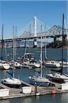 View of Bay Bridge, new East Span, from Treasure Island Marina, San Francisco, California, USA