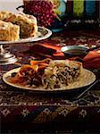 Slice of Meat Pie with Carrot Salad, Studio Shot
