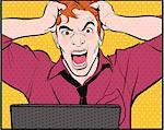 Man using computer, shouting and pulling hair
