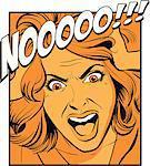 Woman shouting, pulling hair