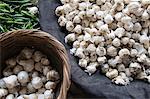 High angle view of garlic bulbs at a market stall, Sohna, Gurgaon, Haryana, India