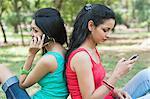 Friends using mobile phones in a park, Lodi Gardens, New Delhi, Delhi, India