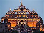 Temple lit up at dusk, Akshardham, Delhi, India