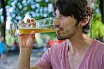 Man drinking beer in beer garden