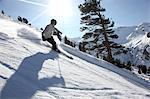 Skier in Hochfuegen, Zillertal, Tyrol, Austria
