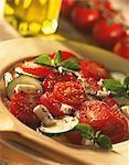 Tomato,mozzarella,basil and cucumber salad