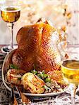 Roast goose with apple and shallot tatin tartlets