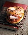 Cold roast pork and orange chutney bagel sandwich