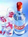 Bottle and glasses of Vodka