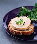 Slice of foie gras on sliced bread