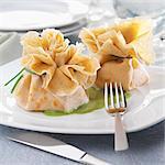Salmon crepe purses ,spinach sauce