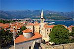 Looking over Budva Old Town to Beach, Budva, Montenegro, Europe