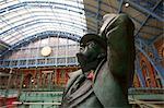 Statue of John Betjeman, St. Pancras Railway Station, London, England, United Kingdom, Europe