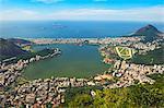 View from the Corcovado over Ipanema, Leblon and the Jockey Club, Rio de Janeiro, Brazil, South America