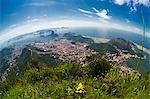 View over Rio de Janeiro, Copacabana, Botafogo, Guanabara Bay and the Sugar Loaf, Rio de Janeiro, Brazil, South America