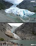Retreat of Briksdal Glacier (Briksdalsbreen), western Josterdalsbreen, Olden, Norway, Scandinavia, Europe