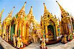 Fisheye image of shrines at Shwedagon Paya (Pagoda), Yangon (Rangoon), Myanmar (Burma), Asia
