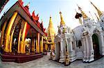 Fisheye image of temples and shrines at Shwedagon Paya (Pagoda), Yangon (Rangoon), Myanmar (Burma), Asia