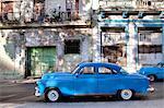 Blue vintage American car parked on a street in Havana Centro, Havana, Cuba, West Indies, Central America