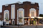 The famous Art Deco Broadway Cinema in Letchworth Garden City, illuminated at dusk, Letchworth, Hertfordshire, England, United Kingdom, Europe