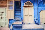 Doorways and stairs, Jodhpur, Rajasthan, India, Asia