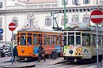 City tram, Milan, Lombardy, Italy, Europe