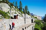 Hiker at Montenvers, Chamonix Valley, Rhone Alps, Haute-Savoie, French Alps, France, Europe
