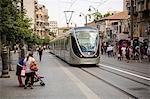Tram at Jaffa street, Jerusalem, Israel, Middle East