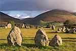 Castlerigg Stone Circle with Blencathra mountain behind, Lake District National Park, Cumbria, England, United Kingdom, Europe