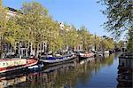 Houseboats on Singel Canal, Amsterdam, Netherlands, Europe