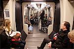 Passengers on the Paris Metro, Paris, France, Europe