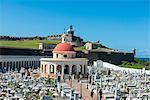 Cemetery in castle of San Felipe del Morro, UNESCO World Heritage Site, San Juan Historic Site, Puerto Rico, West Indies, Caribbean, Central America