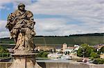 Statues on the old Main Bridge in Wurzburg, Franconia, Bavaria, Germany, Europe