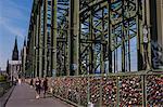 Rhine bridge and Cathedral of Cologne above the Rhine, Cologne, North Rhine-Westphalia, Germany, Europe