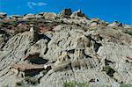 Strange rock formations in the Roosevelt National Park, North Dakota, United States of America, North America
