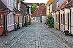 Cobblestone alley in the old poor quarter, City of Beggars, Odense, Funen, Denmark, Scandinavia, Europe