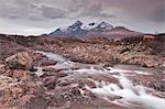 The River Sligachan and the Cuillin Hills, Isle of Skye, Inner Hebrides, Scotland, United Kingdom, Europe