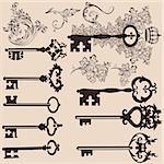 Vector set of filigree keys  for design. Calligraphic vector