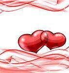 Illustration cute hearts, Valentine wavy background - vector