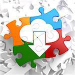 Cloud with Arrow Icon on Multicolor Puzzle. IT Concept.